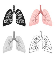 Lungs icon in cartoon style isolated on white vector