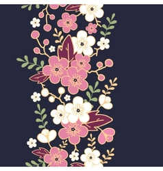 Night garden sakura blossoms vertical seamless vector