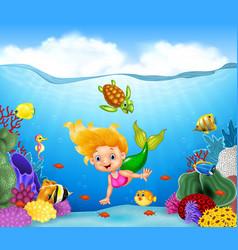 Cartoon mermaid with beautiful underwater world vector