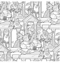 Graphic aquarium fish with architectural sculpture vector