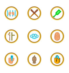 Court evidence icons set cartoon style vector