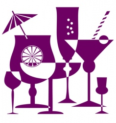 Coctail glasses silhouette vector