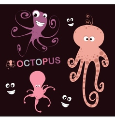Set of 3 lovely octopus vector