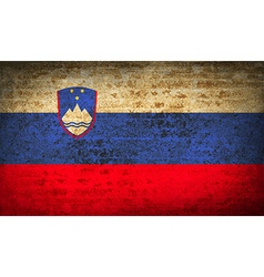 Flags slovenia with dirty paper texture vector