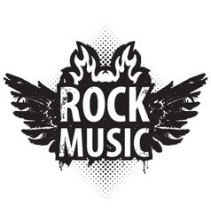 Rock music in the fire vector