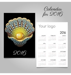 Stylish black calendar with shell with a pearl vector