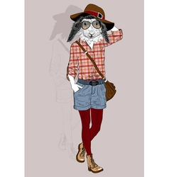 Hipster animal rabbit portrait vector