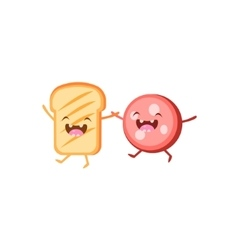 Toast and meat cartoon friends vector