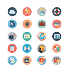 Security flat colored icons 4 vector