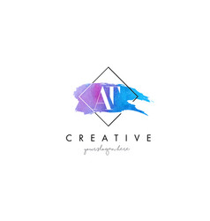 At artistic watercolor letter brush logo vector