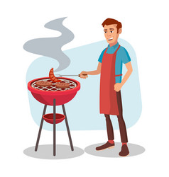 bbq cooking man cook grill meat on bbq vector image