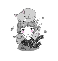 Beautiful young girl with short hair a fox a cat vector