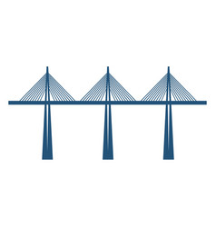 cable-stayed bridge on three supports blue vector image