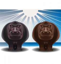 Chocolate hippopotamuses vector