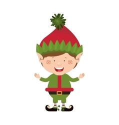 Color image with christmas gnome boy vector