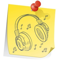 doodle sticky note headphones vector image vector image