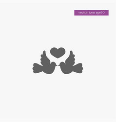 Dove with heart icon simple vector