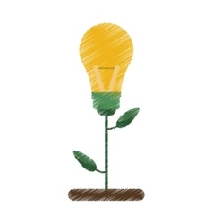 Drawing green bulb idea plant pot design vector