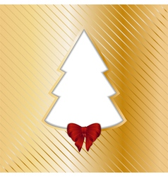Gold Christmas backgound with cut out tree vector image