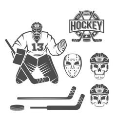 ice hockey goalie elements vector image vector image