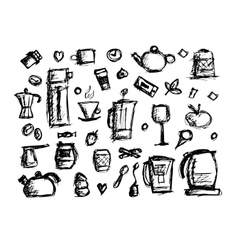 Kitchen Utensils Sketch Drawing For Your Design Vector Image