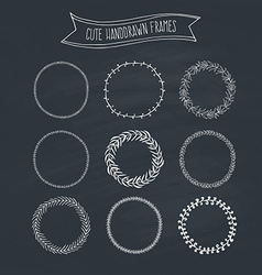 Romantic wreaths on chalkboard vector