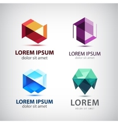 set of crystal 3d logos icons signs vector image