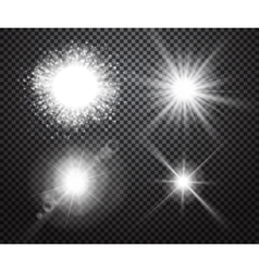 Set of glowing lights effects with transparency vector image