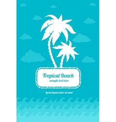 Tropical beach palms sign vector image
