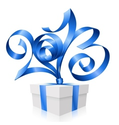 Blue ribbon in the shape of 2013 vector