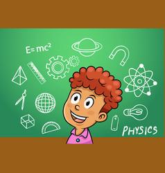 School boy write physics symbol object vector