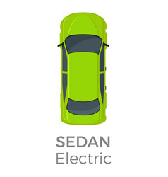 Electric sedan top view flat icon vector