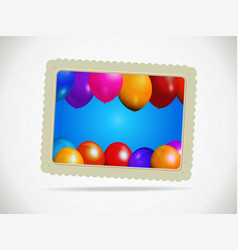 Balloons gift card with rope and shadow vector