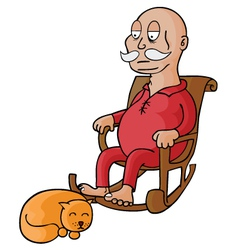 Old man with cat vector