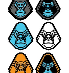 Gorilla Head Icon Set vector image