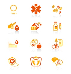Diabetes icons - JUICY series vector image