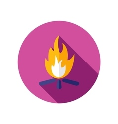 Bonfire flat icon with long shadow vector