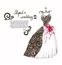 Wedding dress to decorate your vector