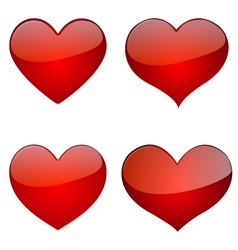 Set of glossy hearts icon design vector