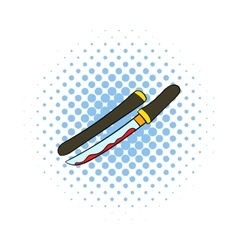 Bloody sword icon comics style vector