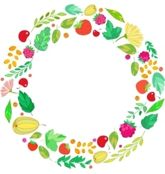 Round frame from berries leaves vector