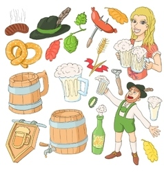 Octoberfest icon set cartoon style vector