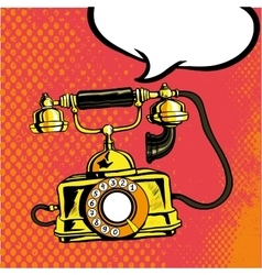 Retro phone ringing in comic vector image