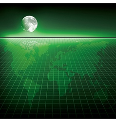 Abstract green background with earth map and moon vector