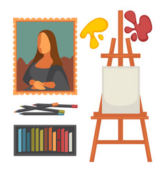 Art equipment set and masterpiece colorful vector