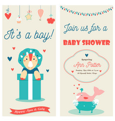 Baby shower double invitation card with a cute vector