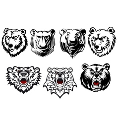 Bear mascots with different expressions vector image vector image