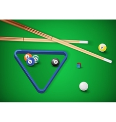 Billiard balls in a pool table vector