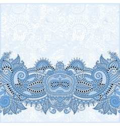 Blue colour paisley design on decorative floral vector