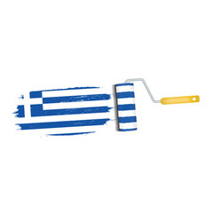 brush stroke with greece national flag isolated on vector image